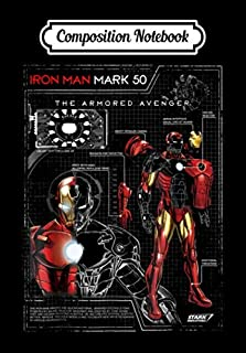 Composition Notebook: Iron Man Armor Plated Suit Blue Print Schematic, Journal 6 x 9, 10...