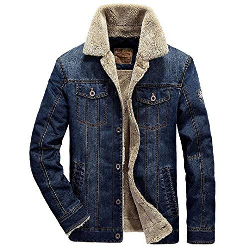 Hombres Cuello de Piel Jeans Retro Grueso Parka cálido Abrigo Outwear Bomber Cowboy Chaquetas Navy Fleece M