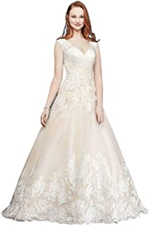 Sample: As-is Scalloped V-Neck Lace Tulle Wedding Dress Style AI10012593