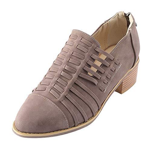 Vovotrade Dameslaarzen met hak, Chelsea leer, korte schacht, blokhak, enkellaarsjes, slip on elastische herfst, bruiloft, hoge hakken, boots