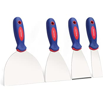 """WORKPRO 4-Piece Putty Knife Set, Stainless Steel Made - Perfect for Drywall Spackle, Taping, Scraping Paint, 1.5"""", 3"""", 4"""", 6"""""""
