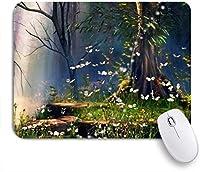 VAMIX マウスパッド 個性的 おしゃれ 柔軟 かわいい ゴム製裏面 ゲーミングマウスパッド PC ノートパソコン オフィス用 デスクマット 滑り止め 耐久性が良い おもしろいパターン (ホタルバージンフォレストツリーの下のおとぎ話のファンタジー)