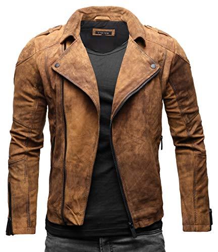 Crone Theo Herren Lederjacke Basic Biker Jacke aus weichem Rindsleder (L, Vintage Braun (Wildleder))