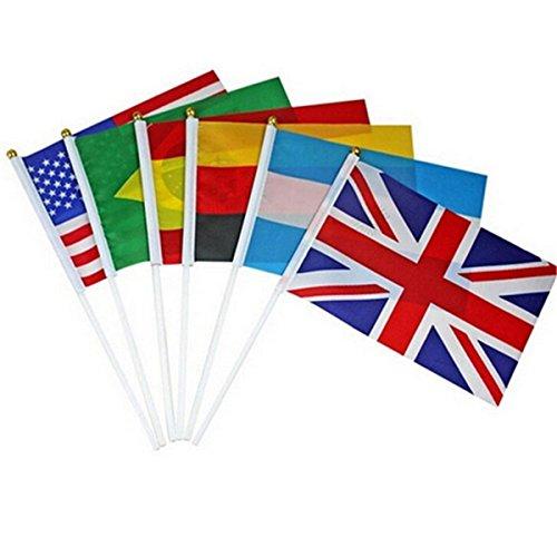 Flaggen der Nationen der Welt, klein, Polyester, 14 x 21 cm, Olympische Spiele, kleine Flaggen und Banner für die Feier, für Europapokal, Olympische Spiele, Heimdekoration, 10 Stück