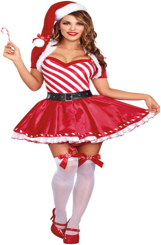 CVCCV 2018 Nuovo Natale Costume Cosplay Costume di Natale Discoteca per Adulti DS Gonna di Natale Tessuto di Cotone Abgreeliamento Donna (Rosso)