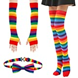 BigOtters Rainbow Costume, 3PCS Colorful Clothes Including Rainbow Socks Striped Knee High Socks Arm Warmer Fingerless Gloves and Bow Tie for Dr. Seuss Theme Party Cosplay Party