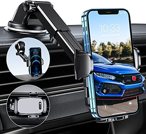 Humixx Car Phone Holder Mount [Racing Grade Stability] Universal Hands-Free Suction Cup Phone Holder for Car Dashboard Windshield Air Vent, Grey Cell Holder Fit for All Mobile Phones iPhone Samsung