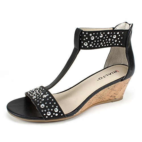 RIALTO Shoes Cleo Women's Wedge, Black/Smooth, 6 M