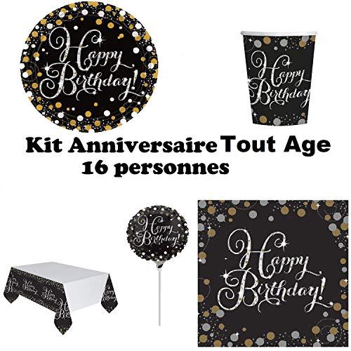 Mgs33 Kit Anniversaire Tout Age Complet décoration Table 16 Personnes (16 Assiettes, 16 gobelets, 16 Serviettes, 1 Nappe + 6 Ballons* ) fête Or doré argenté Gold Silver Brillant (Toute Age)