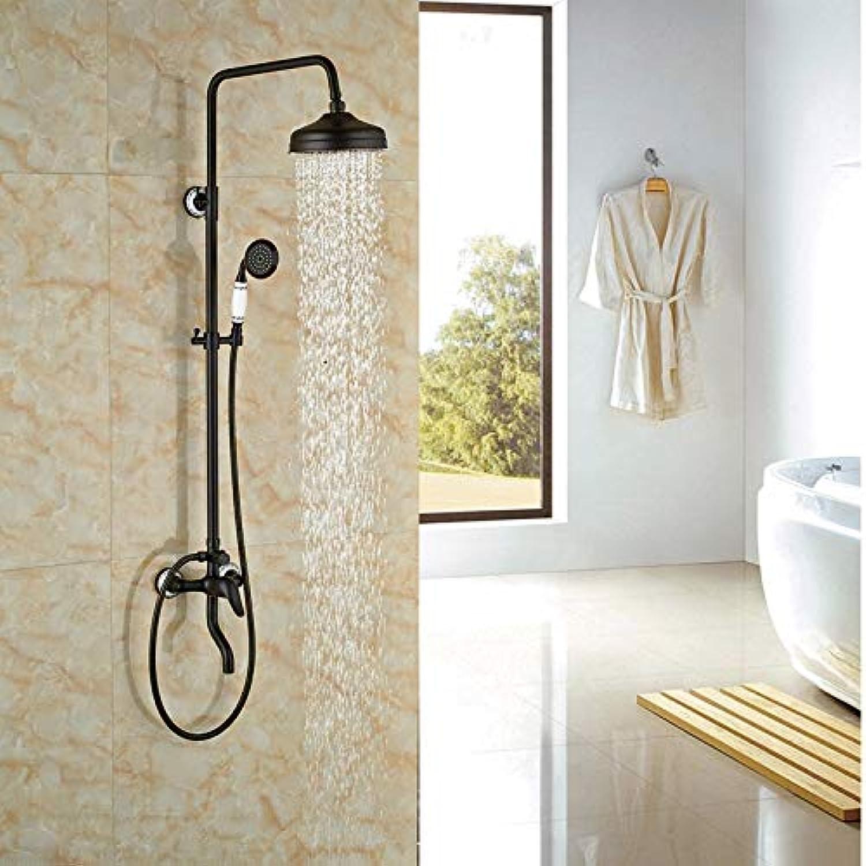 Widespread Single Lever Bathroom Shower Set Oil Rubbed Broze Rainfall Shower Set Mixer Tap,schwarz