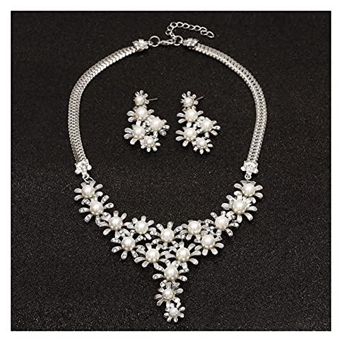 ZCPCS Conjuntos de Joyas de la Perla de la Moda para Las Mujeres Conjuntos de Joyas de Las Cuentas africanas Dorado Cristal DE LA Boda CRIDAL Dubai Collar DE JOYERÍA (Metal Color : F768)
