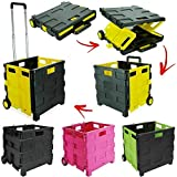 35 KG Folding Boot Cart Shopping Trolley with Wheels Fold Up Storage Box Wheels Crate Foldable (Green & Black)