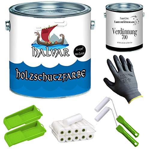 Halvar Holzschutzfarbe skandinavische Wetterschutzfarbe mit PREMIUM Lackier-Set + Verdünnung (1 L) Holz-Lack wetterbeständiger Langzeitschutz (5 L, Schwedenrot)