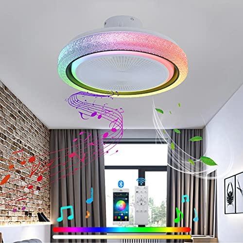 VOMI Inteligente Ventilador de Techo LED Lámpara de Techo con Mando a Distancia RGB Cambios de Color Infantil Lámpara de Ventilador Regulable Silencioso Ventilador Bluetooth Altavoz Dormitorio