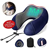 ITravoo Travel Pillow,100% Pure Memory Foam Neck Pillow with Portable Bag, Breathable & Machine Washable,360-Degree Surround Neck Pillow for Airplane Travel Train Car Office Reading Sleeping,Blue