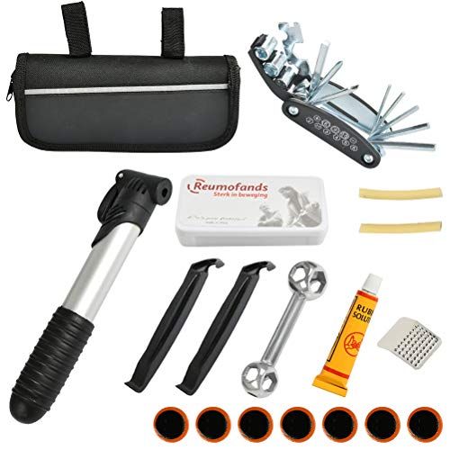 N\A WOWOSS Kit de Herramientas de Reparación Bicicleta, Herramienta de Reparación 16 en 1 con Kit de Parches de Neumáticos y Llave Allen en Bolsa Negra Portátil