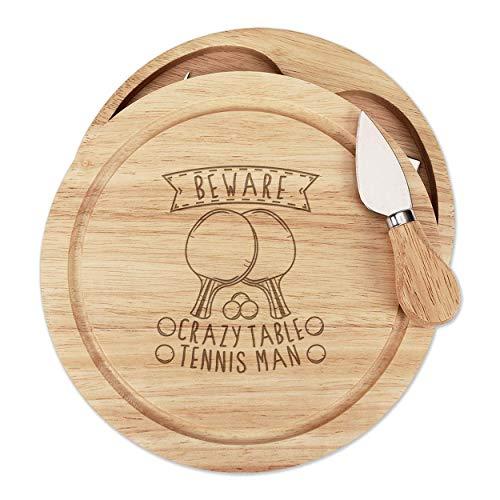 Hüten Sie Sich vor Verrückt Tischtennis Mann Holz Käse Brett Set 4 Messer