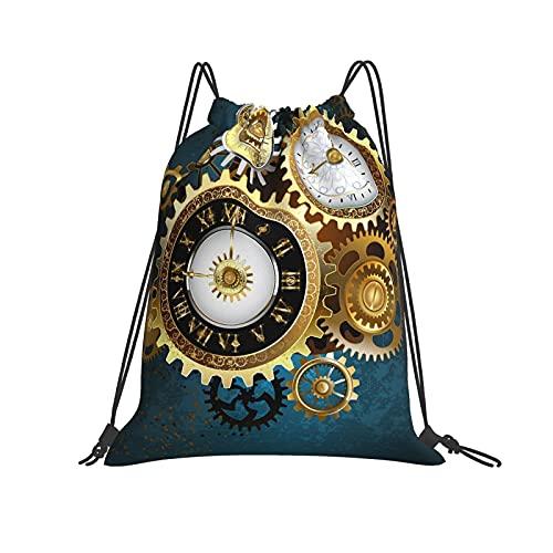 Bolsa clásica con cordón para dos relojes con números dorados y engranajes de metal, bolsa de gimnasio, mochila de poliéster, bolsa de deporte para hombres y mujeres