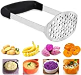 Potato Masher, Stainless Steel Premium Potato Hand-Mashed Machine, Purees Baby Food, Fruit And Vegetable Smasher, with Wide and Ergonomic Horizontal Handle with Fine-Grid Plate