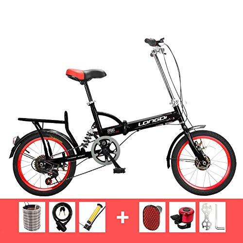 Wghz Vélo Pliant 16 Pouces Adultes Hommes et Femmes Ultra-légers Portables Enfants étudiants Absorption des Chocs Petit vélo à Vitesse Unique garçons et Filles vélo, Noir