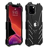 iPhone 11 Pro アルミ バンパー ケース DINGXIN 最強金属合金カバー アイフォン11プロ ケース バンパー 落下保護 【 格好いい 耐衝撃 】 メタルフレーム バットマンダーツ付き スタンド機能付き (iPhone 11 Pro, ブラック)