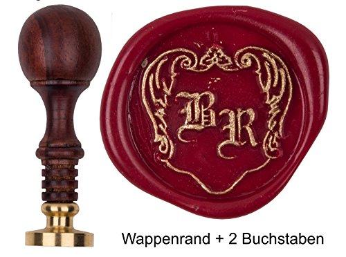 Siegelstempel pers. Initialen 2 Buchstaben Frakturschrift + Wappenrand, Teakholz