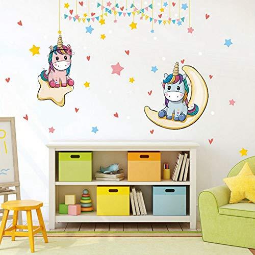 Muurtattoos PISKLIU Muurstickers, Muurstickers, Motief: eenhoorn van de geschiedenis, kleurrijke paarden, voor kinderkamer, doe-het-zelf, wallpaper, thuisdecoratie, 90 x 60 cm