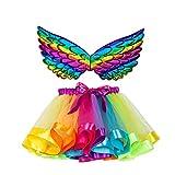 ZEZKT Conjunto de tutú de Malla Arcoiris + alas para 2-11 años bebé niña Falda Corta Pettiskirt Princesa Enagua de Tutu de Baile de Carnaval Fiesta Multicolor 182