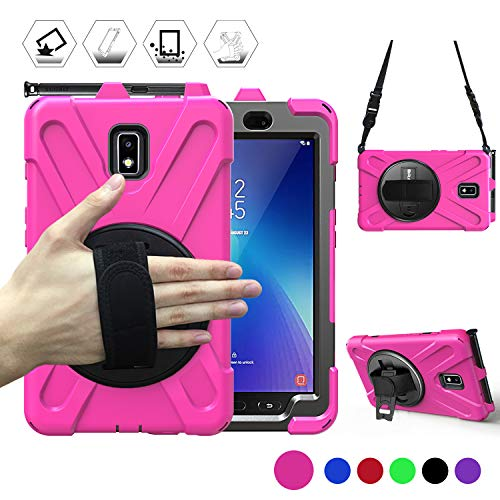 BRAECN Samsung Galaxy Tab Active 2 Case, [Rotating Hand Strap] [Built-in Kickstand] [Carrying Strap] Dropproof Shockproof Rugged Case for Galaxy Tab Active2 SM-T390/SM-T395/SM-T397 Tablet-Rose