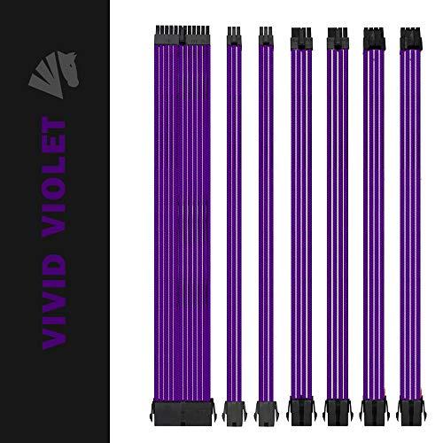 Asiahorse Customization Mod Sleeve Extension Power Supply Cable Kit 18AWG ATX/EPS/8-pin PCI-E/6-pin PCI-E (Purple)