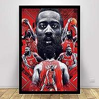 バスケットボールロケットジェームスハーデンスターポスターウォールアート画像キャンバスポスターとプリントHDプリント油絵壁画リビングルーム家の装飾フレームレス絵画