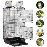 Yaheetech Cage Oiseaux Volière en Métal pour Oiseau Perruche Conure Canaries Madarin Noir 46 x 36 x 92 cm