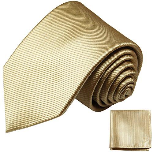 Paul Malone Gold Sand Krawatten Set fleckabweisende Seidenkrawatte + Einstecktuch