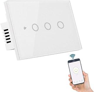 VOICEPTT Interruptor Inteligente, WiFi Interruptor de luz de Pared Smart Switch Apagadores con Teclas Táctiles Altamente S...