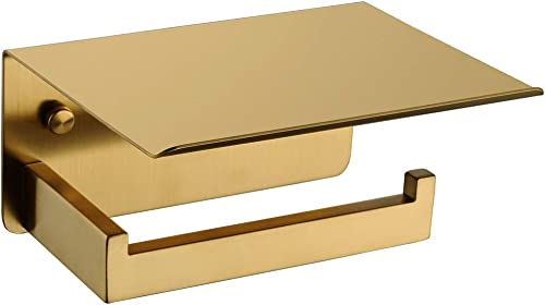 Toilet Paper Holder with Shelf Brushed Gold, APLusee SUS 304 Stainless Steel Modern Bathroom Accessories Tissue Roll ...