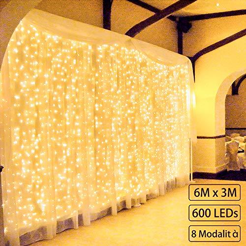 600 LED 6Mx3M Zorela Tenda Luminosa Natale IP44 Impermeabile Luci di Natale 8 Modalità Tenda Luminosa Esterno Bianco Caldo Tenda di Luci Esterno LED Luci Stringa per Natale, Giardino e Matrimonio