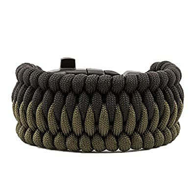 Tactical Paracord Bracelet - Survival Paracord Bracelet with Compass, Whistle, fire Starter and Scraper - 5 Meters of Cord - Trilobit Cetus (Army Green and Black, L)