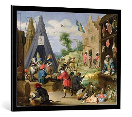 Kunst für Alle Cuadro con Marco: David Teniers A Monkey Encampment - Impresión artística Decorativa con Marco, 90x70 cm, Negro/Canto Gris