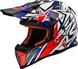 LS2 Casco Moto Mx437 Fast Strong, Bianco/Rosso/Blu Taglia XS