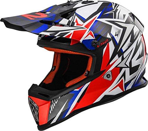 LS2 Casco Moto Mx437 Fast Strong, Bianco/Blu/Rosso, M