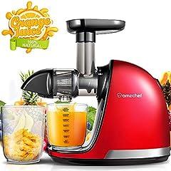 AMZCHEF Slow Juicer BEZ Wyciskarki do soków BPA i profesjonalna sokowirówka z cichym silnikiem & reverse function & Juice Pot & Cleaning Brush (150 Watt/Red)