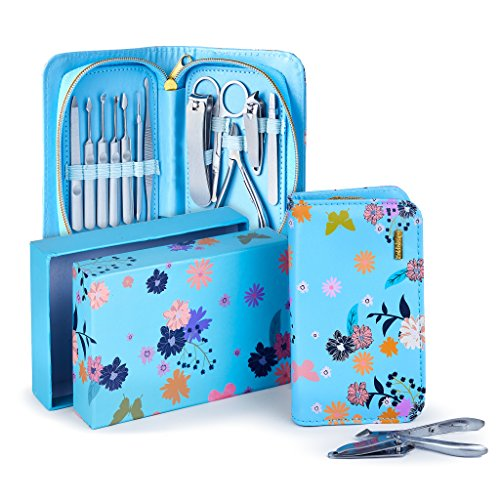 Exclusive Manicure Set & Pedicure Kit 12Pcs of Stainless Steel Manicure Pedicure Set, for Travel Home Comes With Premium Quality Floral Zipper Case grooming kit for women teen manicure set (Blue)