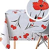 Mantel de PVC de color gris claro con amapolas rojas – Rectángulo 200 x 140 cm – Mantel de vinilo de plástico lavable con estampado floral de amapola