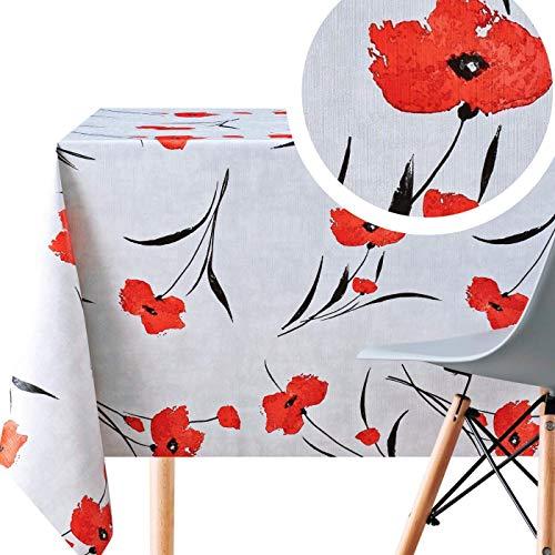 Gris la Nappe PVC et Rouge Coquelicots - Toile Ciree Rectangulaire - 200 x 140 cm - Nappe Imperméable - Effet Lotus - Plastique Vinyle - Facile à Nettoyer Lavable Toile Cirée - Floral Motif