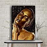 Pinturas en lienzo, carteles e impresiones, maquillaje dorado, mujeres, estilo retro nórdico, cuadros artísticos de pared, decoración para sala de estar, 30x40cm sin marco