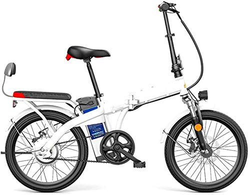 YAOSHUYANG Electric Bike 20' 250W Foldaway/Carbon Steel Material City Electric Bike Assisted Electric Bicycle Sport Mountain Bicycle with 48V Removable Lithium Battery (Color : White, Size : 45KM)