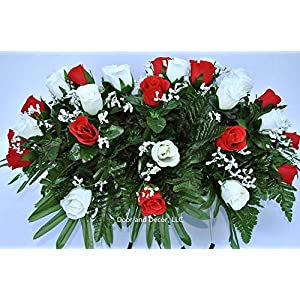 cemetery saddle headstone decoration with red and white roses for mother's day, father's day, memorial day, and labor day silk flower arrangements