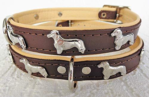 Lusy011 *DACKEL* Hunde Halsband, Leder, Halsumfang 28-32cm oder 30-36cm oder 36-41cm, BRAUN-Beige (28-32cm/36cm/20mm)