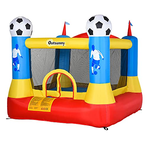 Outsunny Kids Football Bouncy Castle House Inflatable Trampoline w/ Inflator Outdoor Play Garden Activity Fun 3-10 Years 2.25 x 2.2 x 1.95m