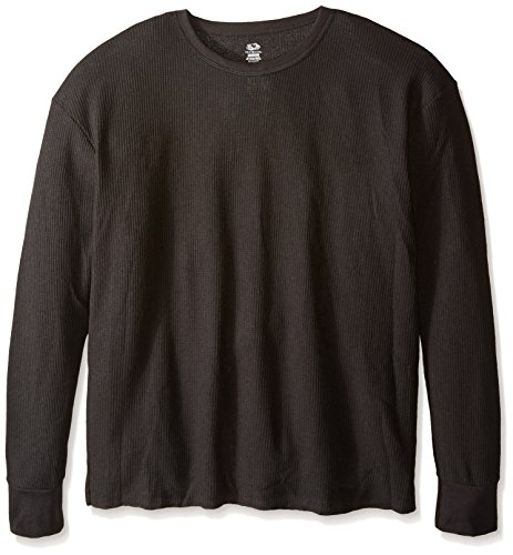 Fruit of the Loom Men's Classic Midweight Waffle Thermal Underwear Crew Top (1 & 2 Packs), Black Soot, Medium